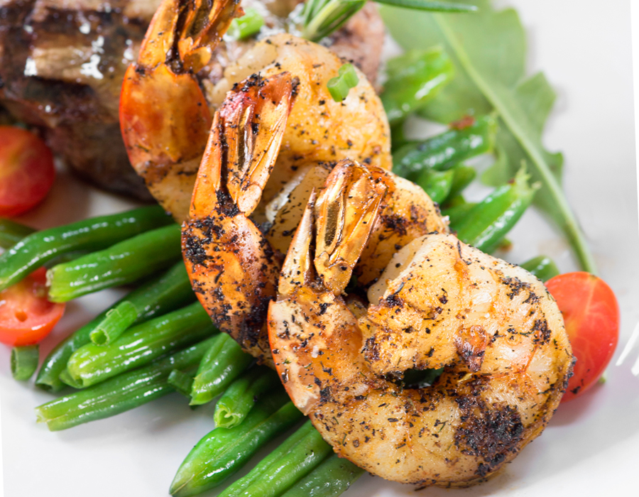 Filet with grilled shrimp from Club Soda. Photography by Neal Bruns